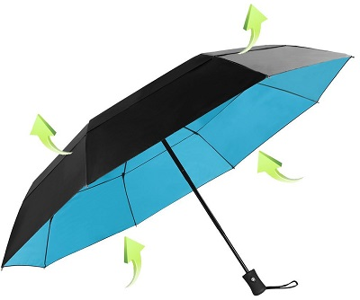 The Koler 46-Inches Huge Windproof auto open close dual canopy folding travel umbrella using 8 Ribs