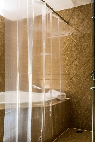 Caitlin White Clear PEVA Shower Curtain Liner Are You